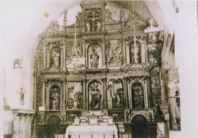 Retaule de l'església de Sant Sadurní cremat durant la Guerra Civil. Inici del segle XX.
