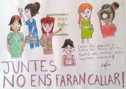 "1r Premi Dibuix juvenil: ""Juntes no ens faran callar"". Autora: María Karach"