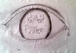 """2n Premi Dibuix juvenil: """"Ojos que no ven, corazón que no siente"""". Autora: Fatou Camara"""