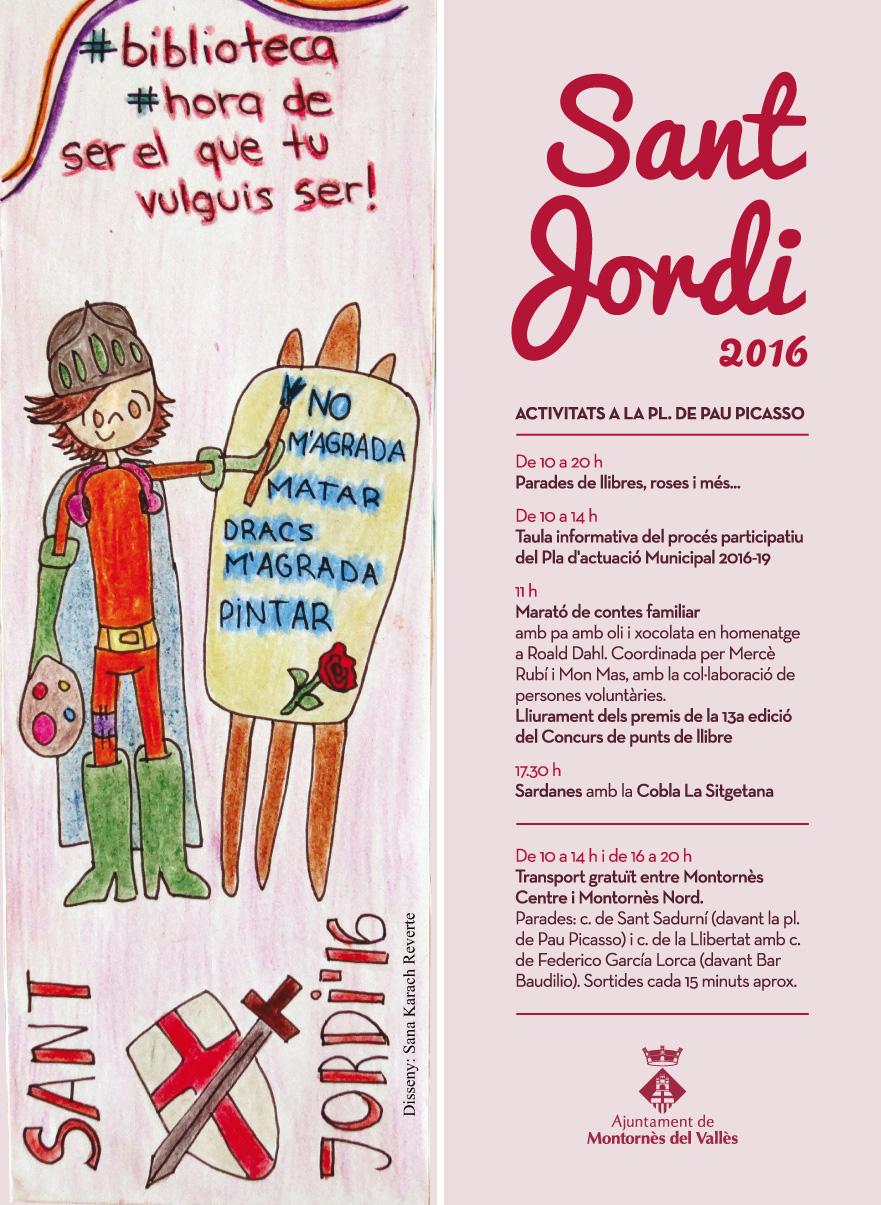 Punt de llibre amb les activitats de Sant Jordi