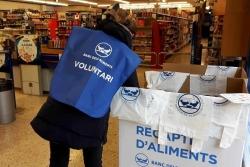 Una voluntària ordena els aliments que hi ha dipositats a una banyera