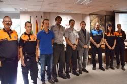 L'alcalde, José A. Montero, amb els representants de Protecció Civil de la Generalitat, Policia Local i AVPC