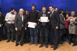 L'alcalde, José A. Montero i el regidor delegat de l'Àrea d'Acció Social, Jordi Delgado, al lliurament de Certificats de Bona Pràctica (Font: Federació de Municipis de Catalunya)