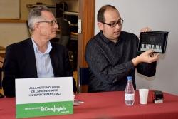 El director de la planta d'El Corte Inglés, Faustino García, i el director de l'Escola de Música, Jordi Soler