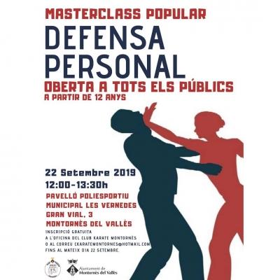 Cartell de la masterclass de defensa personal de karate