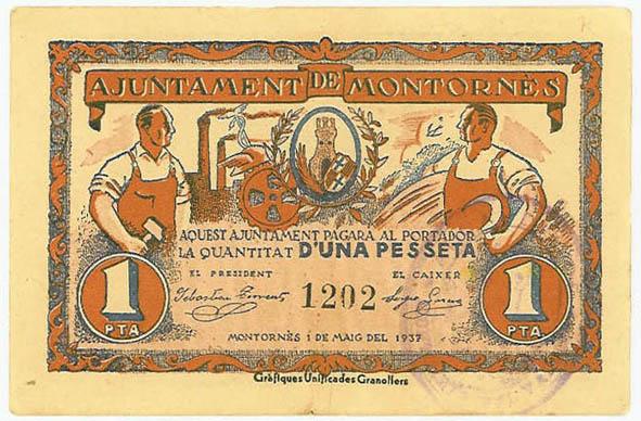 Anvers del paper moneda d'una pesseta, editat per l'Ajuntament (1937)