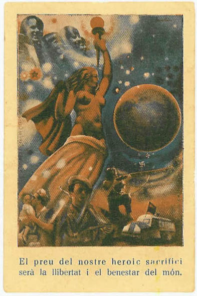 Revers del paper moneda d'una pesseta, editat per l'Ajuntament (1937). Reproducció d'un cartell de l'artista valencià Monleón