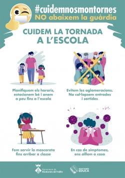 Cartell sobre mesures de prevenció en l'accés a l'escola
