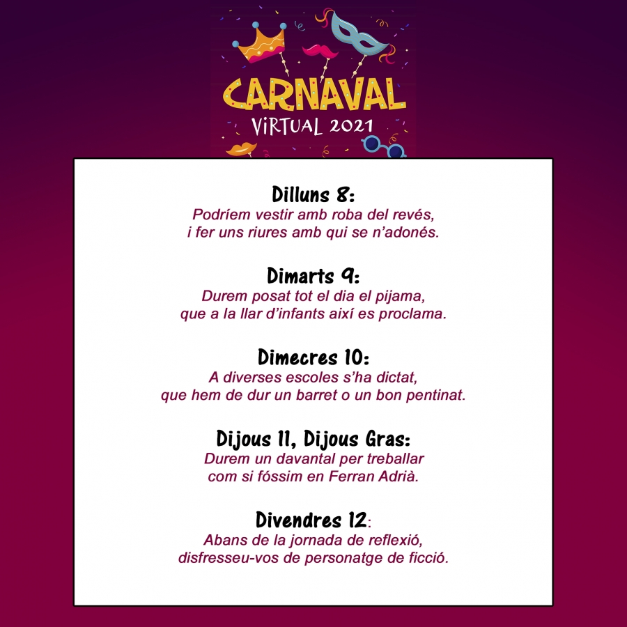 Les consignes del Carnaval 2021