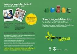 """Exterior del díptic de la campanya """"Si recicles, estalviem tots"""" (2012)"""