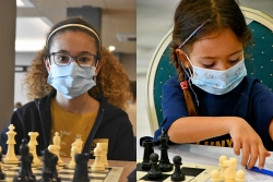 Les escaquistes Adahara Carrasco (esquerra) i Núria Linares (dreta). (imatges: Federació Catalana d'Escacs i Club d'Escacs Montornès)
