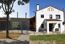 Exterior de les instal·lacions de la Llar d'Infants Pública El Lledoner (esquerra) i el PTT (dreta)