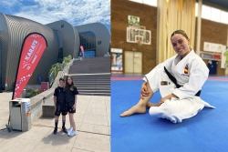 Usama Karach i Teresa López a Croàcia (esquerra) i Maria López a Mallorca (dreta). (imatge: Club Karate Montornès)
