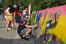 Pintada de grafits a la primera edició de l'Urban Art Festival (2018)