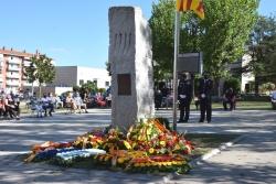 El monòlit de l'Onze de setembre amb l'ofrena floral per commemorar la Diada Nacional de Catalunya de 2020
