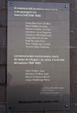 19 d'abril - Commemoració del 70è aniversari del final de la Guerra Civil - Record als montornesencs morts o desapareguts durant la Guerra Civil i la postguerra